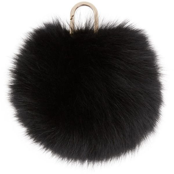 Yves Salomon Black Fur Pom Pom Keychain (€72) ❤ liked on Polyvore featuring accessories, bags, fillers, black, fur pom pom key chain, fob key chain, fur key chain, engraved key chains and yves salomon