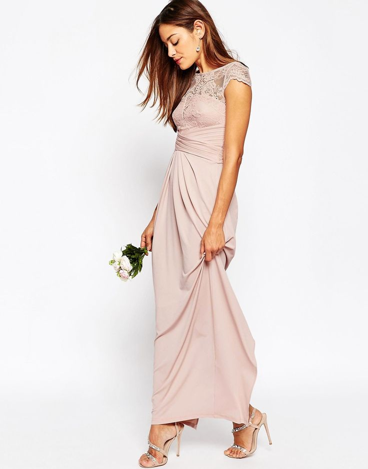 Gorgeous idea for bridesmaid dresses ASOS WEDDING Lace Top Pleated Maxi Dress