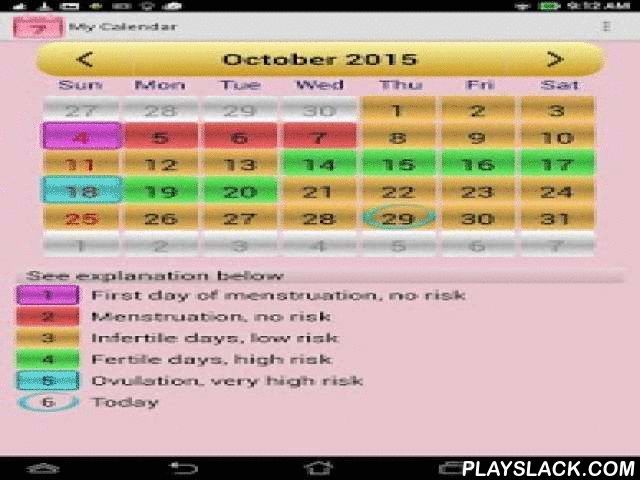 Menstrual Ovulation Calendar  Android App - playslack.com ,  This application will allow you to quickly and easily verify your menstruation phase and find out your fertility throughout the whole year! It will calculate your next menstrual cycle days. You will be able to find out your safe sex and high risk days, or good chance for pregnancy. Calendar of menstruation and fertility will become your closest friend, that will always stay with you. It is very easy to use and has a very intuitive…