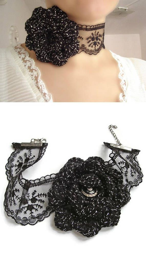 Lace choker gothic choker romantic necklace flower jewelry
