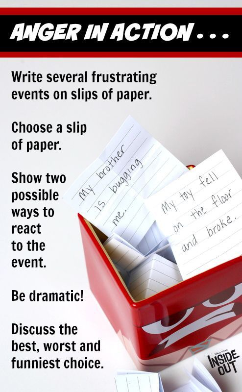Play this funny acting game inspired by the movie Inside Out the next time your little one needs to practice reacting positively to a situation. Write several frustrating events on slips of paper, put them in a cup, choose an event, and take turns acting out two possible reactions to the event. One reaction can be funny and irrational, and the other should reflect the more positive choice. Using humor helps kids learn to make smart choices when dealing with life's little and big…