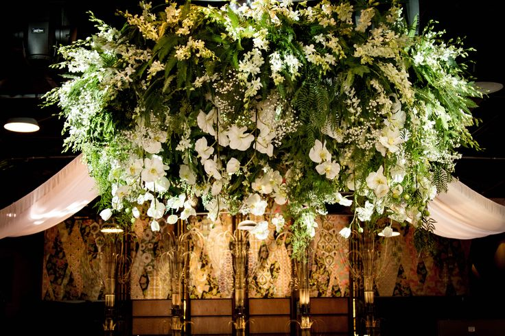 Decor It Events gorgeous green and white floral chandelier #floral chandelier #floral installation #green #white flowers #venue decor #weddingcenterpieces