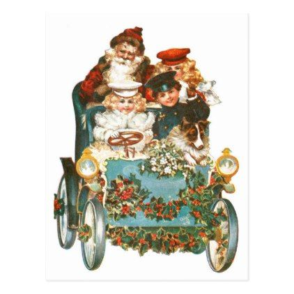 Cute Vintage Car | Santa Claus Chrismtas Postcard - christmas cards merry xmas family party holidays cyo diy greeting card