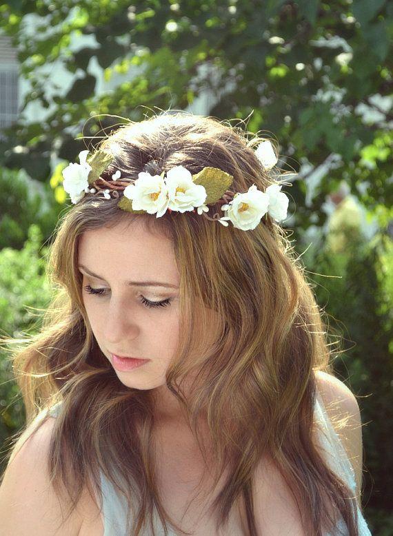 Rose blanche couronne de mariage couronne de fleurs blanches