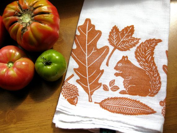 Autumn Leaves & Squirrel Towel in pumpkin, block print, flour sack towel (made to order)