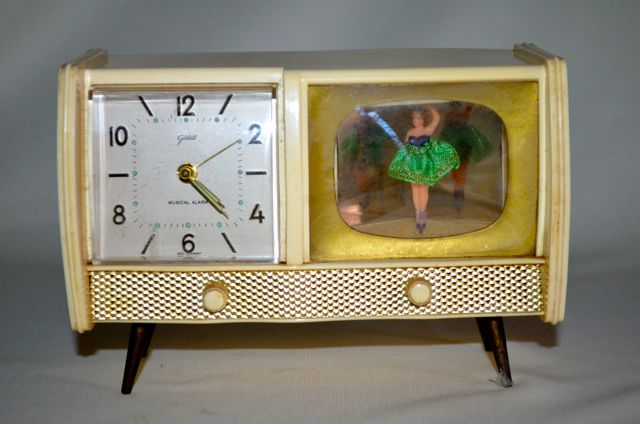 Midcentury alarm clock with twirling balerina