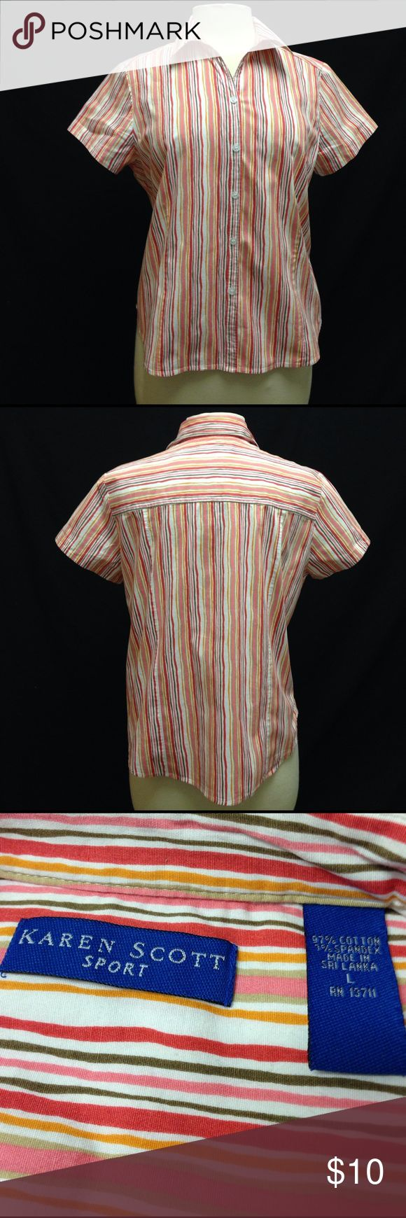 """Karen Scott Sport Striped Button Down Top Bust 43"""" Waist 41"""" Length 23"""" This top is excellent condition. Material stretches. No rips stains or tears. Karen Scott Tops Button Down Shirts"""