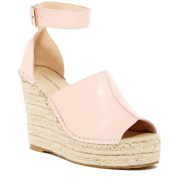 Catherine Malandrino Chinges Espadrille Wedge Sandal ($90) ❤ liked on Polyvore featuring shoes, sandals, nude, espadrille sandals, ankle strap sandals, wedge espadrilles, nude sandals and nude wedge sandal
