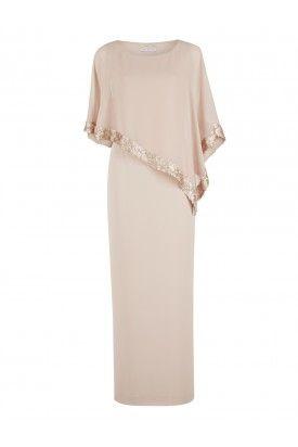 Moss crepe dress and sequin chiffon cape