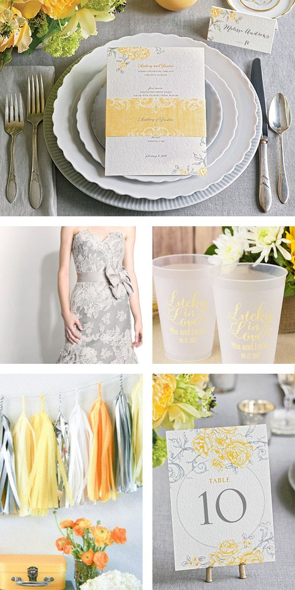 """Hello yellow! Here's a totally fresh (and charming!) combo for summer brides: buttercup + gray. Inspired by @weddingpaper """"Antique Rose Scrolls"""" invitation suite. (Menu, table number and place cards: Wedding Paper Divas, dress: Modern Trousseau, favors & deco: Beau-coup) #WeddingPaperDivas #weddingboard #inspirationboard #sponsor #weddinginvites #engaged #bridesmaids #wedding #grey #partyideas #gray #yellow #weddingdress #weddingfavor #invitation #summerwedding #yellowwedding"""