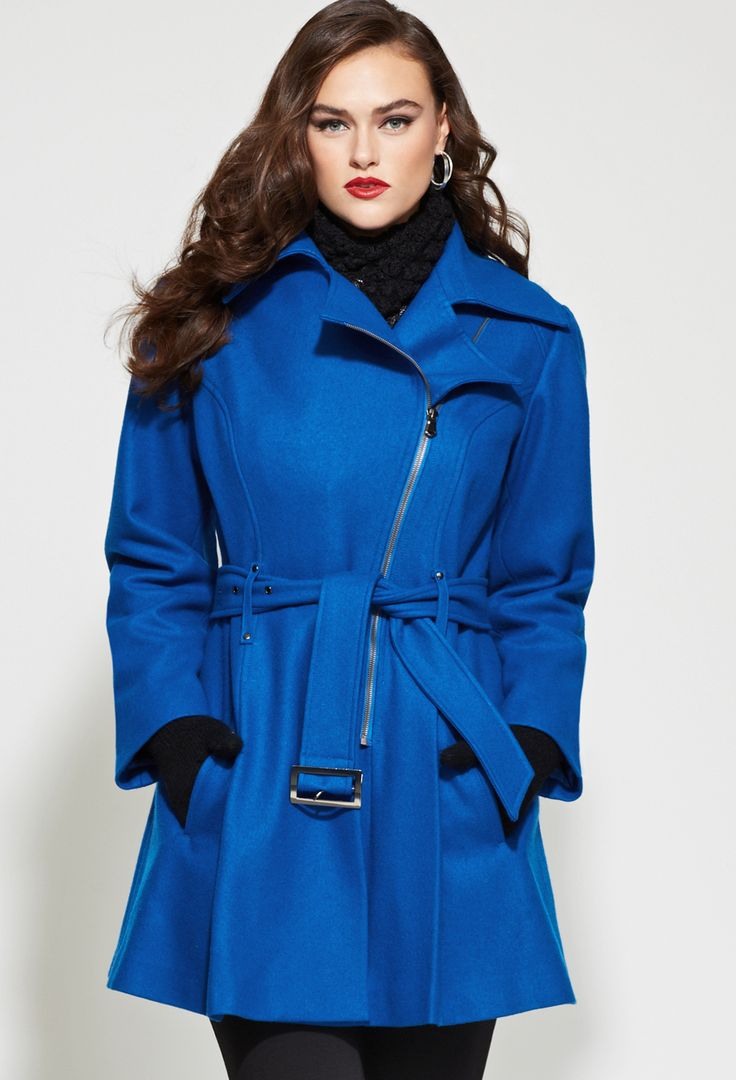 This coat is giving me everything!!!    Plus Size Belted Asymmetrical Wool Coat | Plus Size Outerwear | Avenue