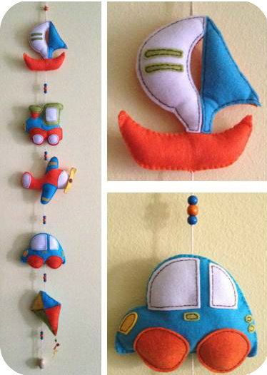 Handmade felt garland with vehicles for nursery decor and children's room. Vivid, eyecatching garland with wooden beads. Boys gift shower