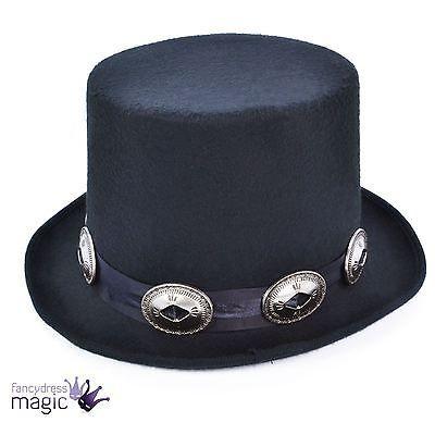 80s Slash Rocker Victorian Steampunk Black Buckles Fancy Dress Costume Top Hat