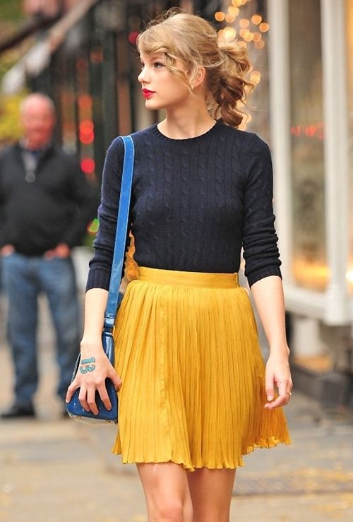 #yellow #skirt: Taylor Swift, Sweater, Taylorswift, Fashion, Style, Color, Outfit, Yellow Skirts, Pleated Skirts