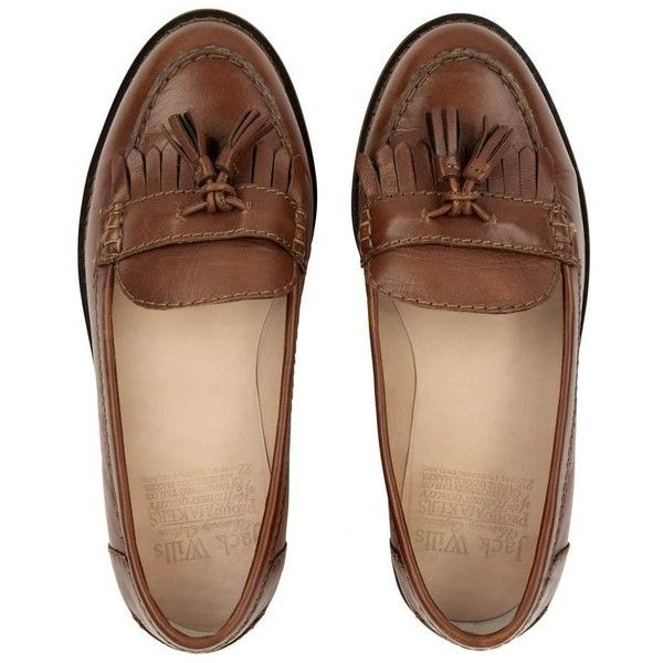 Jack Wills Adney Loafers (£38) ❤ liked on Polyvore featuring shoes, loafers, flats, footwear, mid brown, loafer shoes, leather loafers, brown shoes, fringe shoes and brown leather loafers