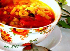 Суп с нутом и помидорами ( постный)