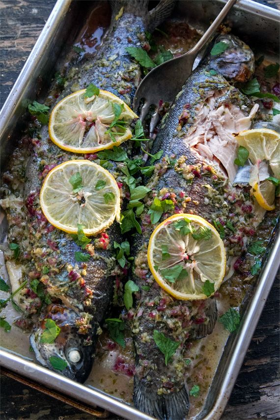 This whole baked trout recipe is very easy and fast. Trout is full of Omega-3 fatty acids, protein and minerals. The herb salsa makes a perfect marinade.