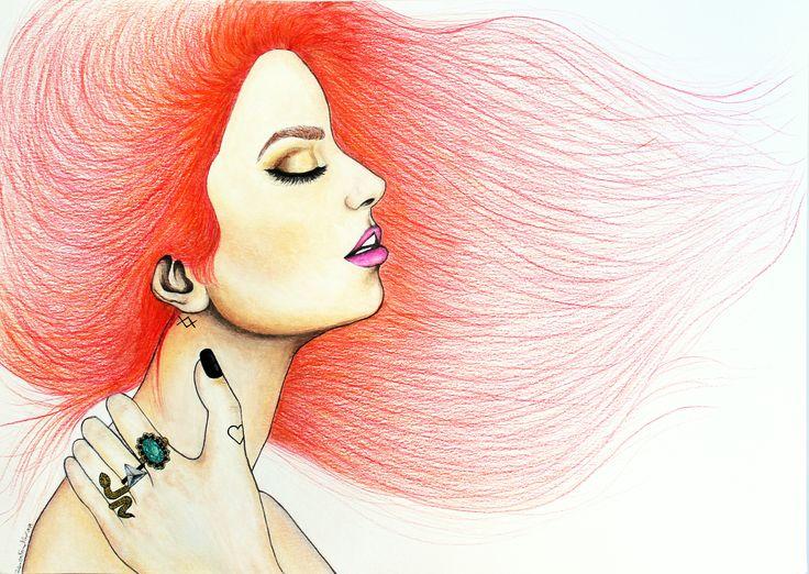 """Arrepio"". Watercolors and color pencils on canson paper. A3. November, 2014."