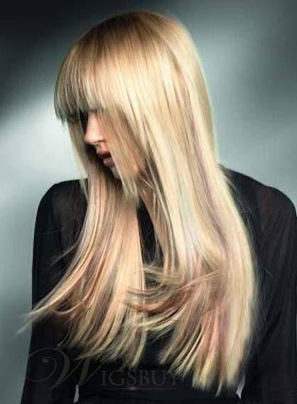 Dreamlike Hairstyle Trendy Newest Fashion Long Silky Straight Blonde Wig about 20 Inches For Pretty 100% Human Hair