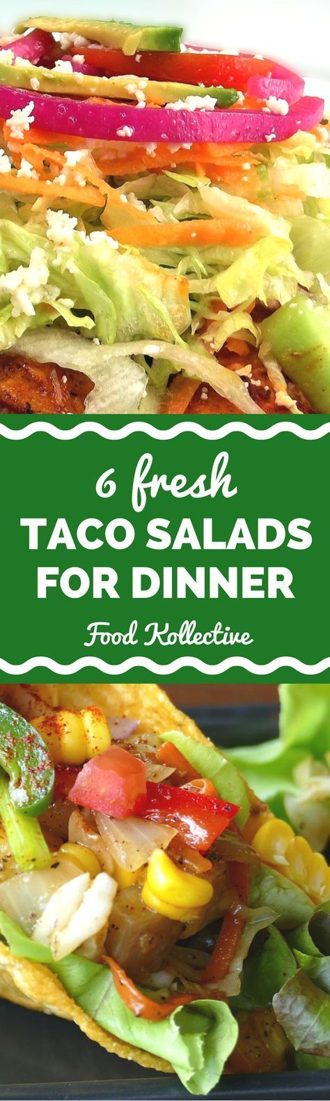 I was looking for taco salad recipes and these look delicious! There are recipes for beef taco salad, chicken taco salad, mexican chopped salad, and vegetarian taco salad. These are some great healthy mexican recipes for a weeknight dinner, Margarita Monday, Taco Tuesday, or Cinco de Mayo. Collected on http://FoodKollective.com