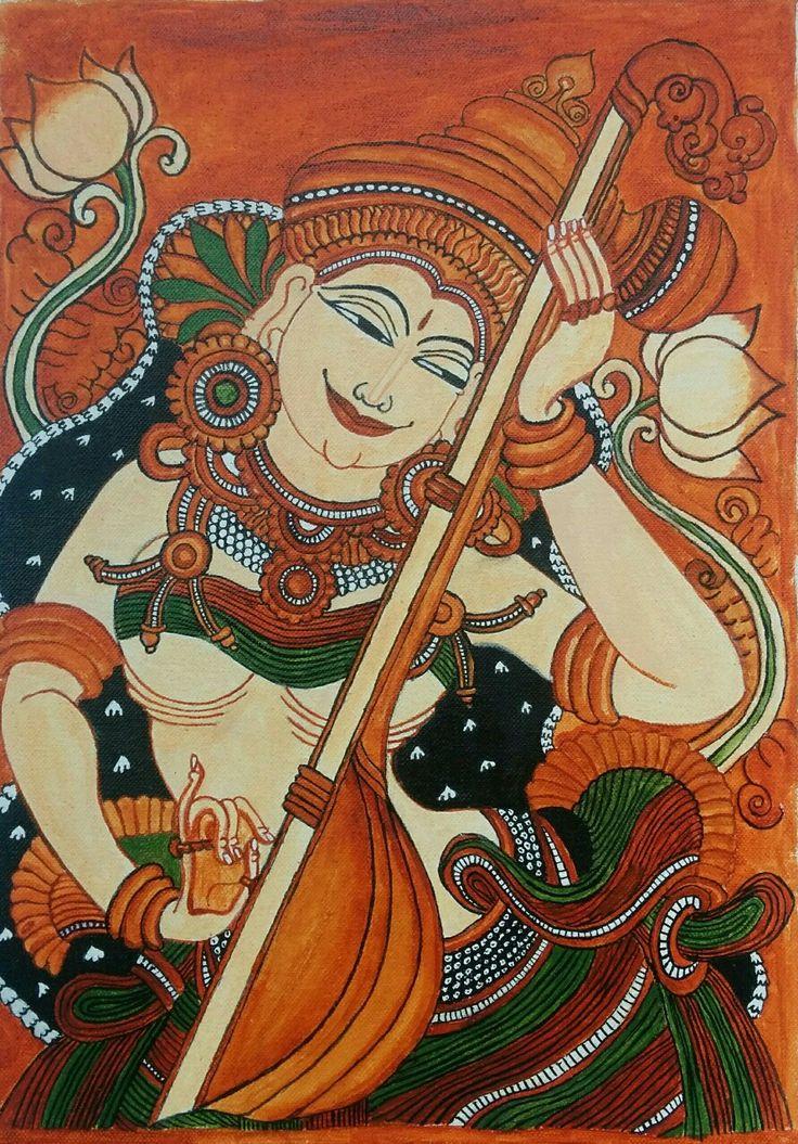 Saraswati Kerala Mural acrylics on canvas artist: Pushpa Ramachandran