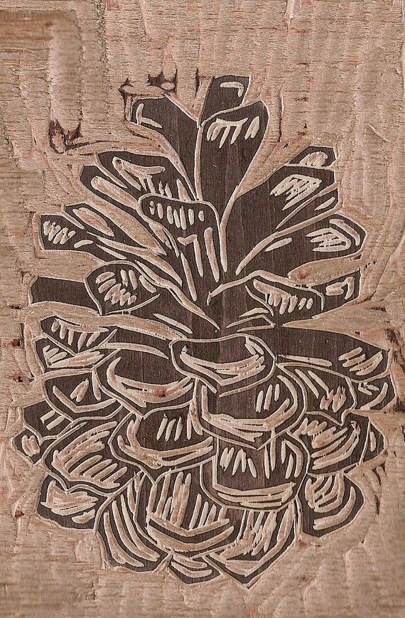 Pine Cone editioned Woodblock print on Japanese by edamamepress, $25.00