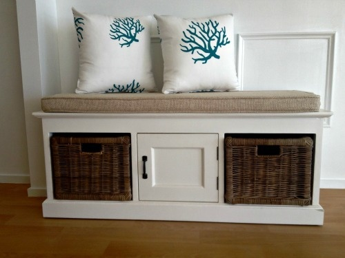 Bench Seat in White! This is what I want for by our front door