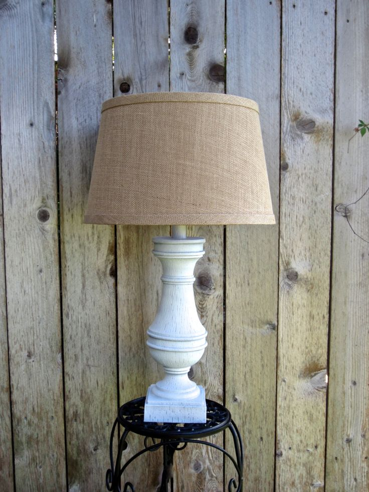 You Pick CUSTOM COLOR Large Rustic Table Lamp Cottage Chic Vintage  Distressed Customizable Lampshade Hand Painted