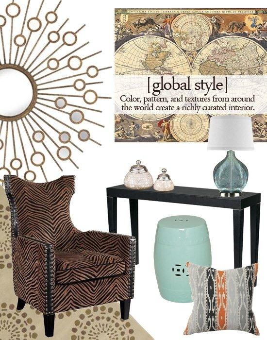 Global style - a hot design trend that mixes vibrant colors, textured fabrics, and worldly accessories (like table lamps, pillows and fabrics) to create an exotic and well-traveled interior look.Table Lamps, Decor Ideas, Hot Design, Decor Trends, Well Travel Interiors, Design Trends, Tables Lamps, Mixed Vibrant, Global Style