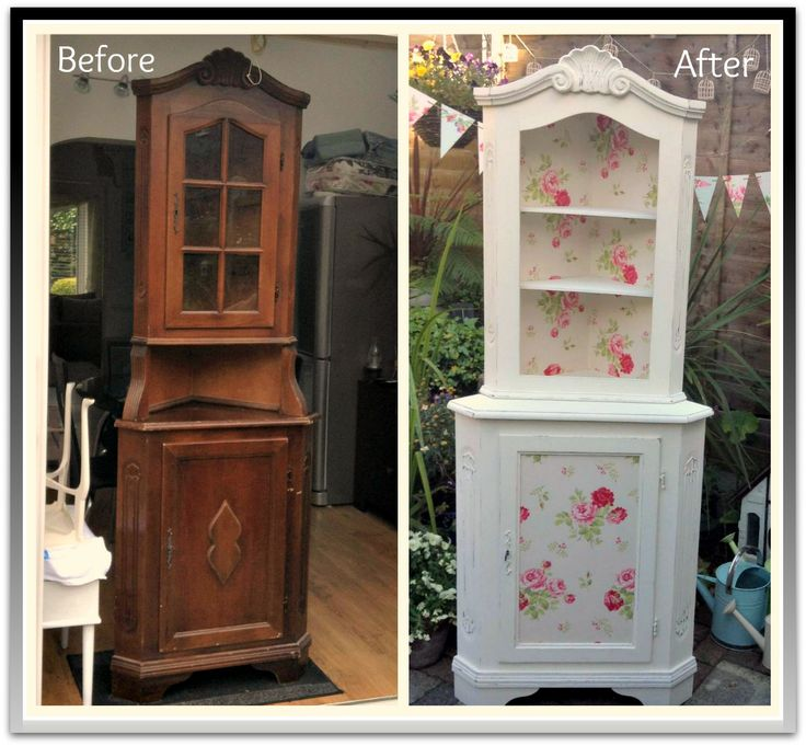 Corner cupboard painted and decoupaged in Cath kidston Antique Rose Bouquet