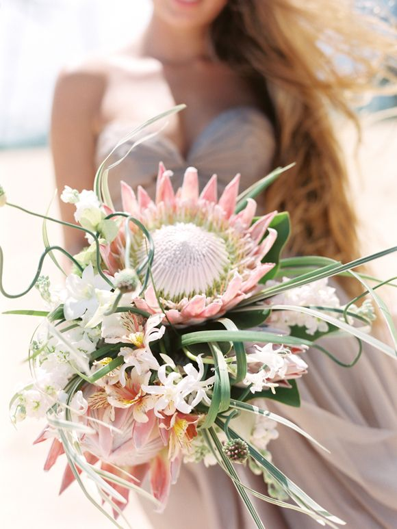 Organic Beach Wedding Bouquet #buque #noiva
