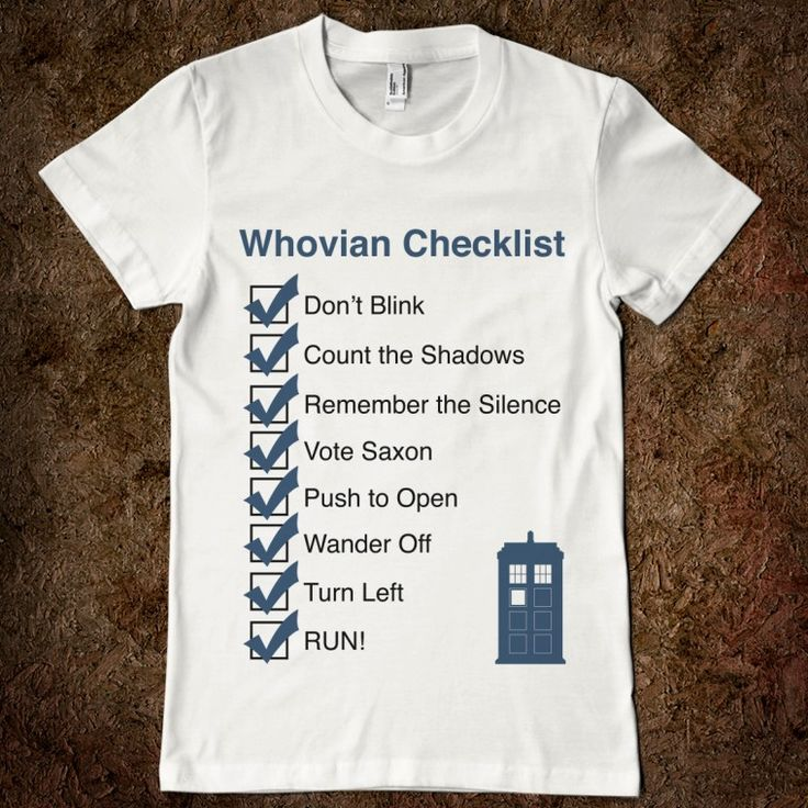 Whovian Checklist - ImpossibleThings6 - Skreened T-shirts, Organic Shirts, Hoodies, Kids Tees, Baby One-Pieces and Tote Bags Custom T-Shirts, Organic Shirts, Hoodies, Novelty Gifts, Kids Apparel, Baby One-Pieces | Skreened - Ethical Custom Apparel