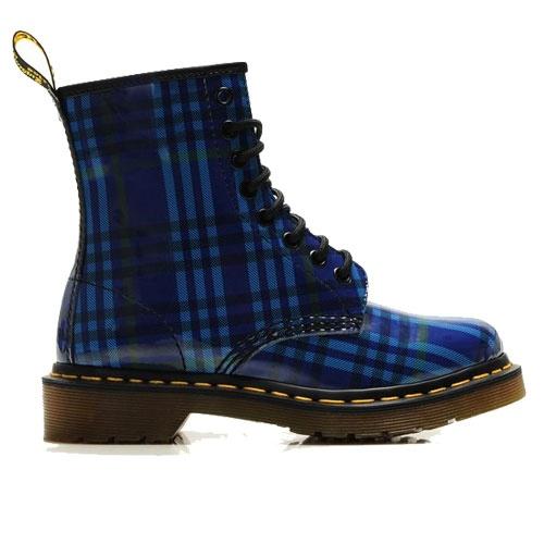 Dr.Martens Boots 1460 Black and Blue Grid Patent Lamper $125.00