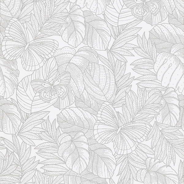 Tapet Area Silverfjäril 10 m x 53 cm Non-woven - Vita tapeter - Rusta
