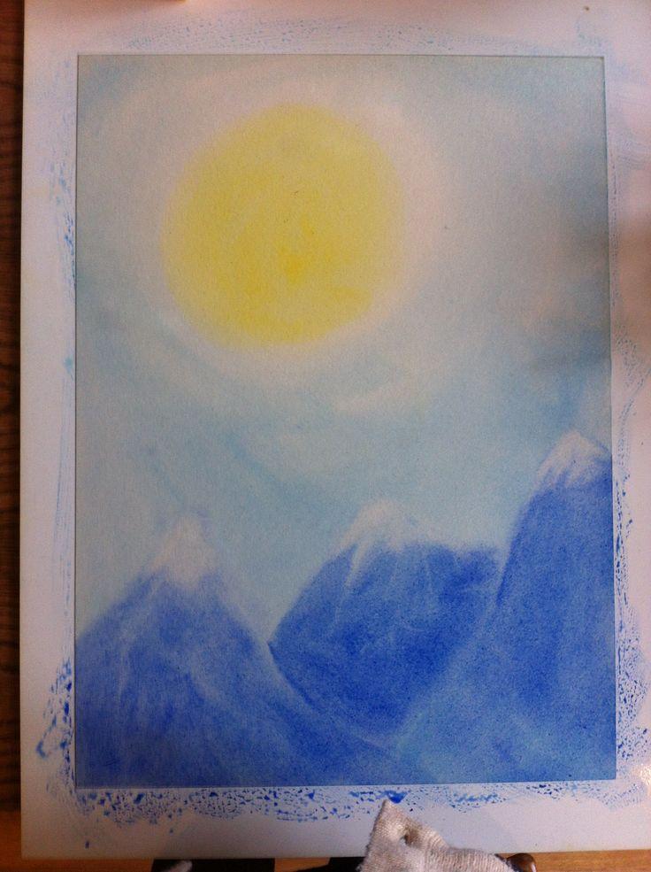 Schildering voor de 4e klas, ondergrond voor de adelaar schildering // propedeuse