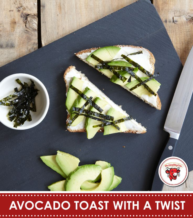 Pump up your midday snack (and reinvent avocado toast) with Creamy Original Swiss on toasted whole grain bread topped with bright sliced avocado and salty, dried seaweed -- two superfoods in one yummy bite @Joanna Goddard | Cup of Jo Ingredients: The Laughing Cow Creamy Original Swiss cheese Whole Grain Bread Avocado Dried Seaweed.