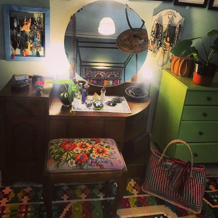 Art Deco Dressing Table and Ball& Claw Tapestry stool #bohemiandressingtable #boho #colour #basket #planter #smoochceramics