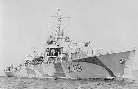 Career (Canada) 	  Name: 	HMCS Kokanee (K419)  Namesake: 	Kokanee Lake  Builder: 	Yarrows Ltd., Esquimalt  Laid down: 	25 August 1943  Launched: 	27 November 1943  Commissioned: 	6 June 1944  Decommissioned: 	21 December 1945  Honours and  awards: 	Atlantic 1944-45, Gulf of St. Lawrence 1944.  Fate: 	Sold to India, 1950