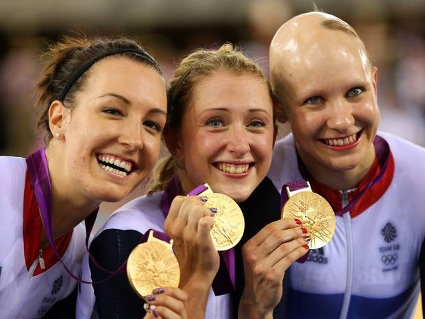 Team GB win Gold for the women's team pursuit event on day eight of the Olympics L-R: Dani King, Laura Trott, and Joanna Rowsell