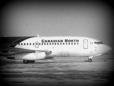 A plane and party ice leaves for a trip to the great north.