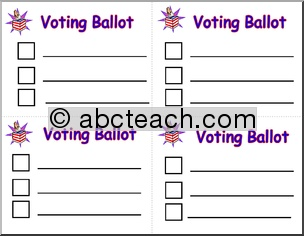 Election Day: Voting Ballot for  mock elecctions.