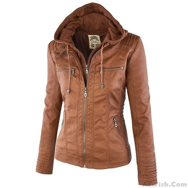 Fashion Fall Winter Faux Leather Detachable Fake Two-piece Hood Zipper Jackets Coat Leather Women's Winter PU Leather Jacket