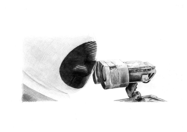 WALL E and EVE KISSING pencil drawing by Cultscenes on Etsy
