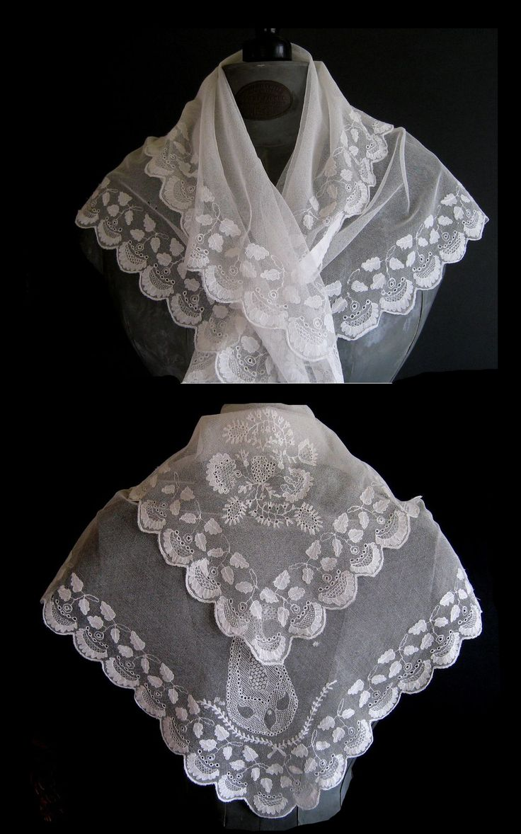 1810 fichu decorated with hand embroidery on fine tulle or net.