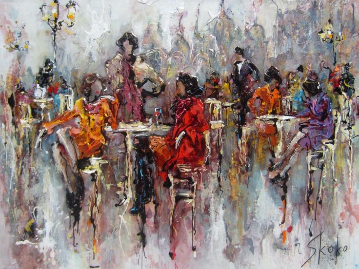 Coffee among friends (pub) par Skoko, artiste présentement exposée aux Galeries Beauchamp. www.galeriebeauchamp.com