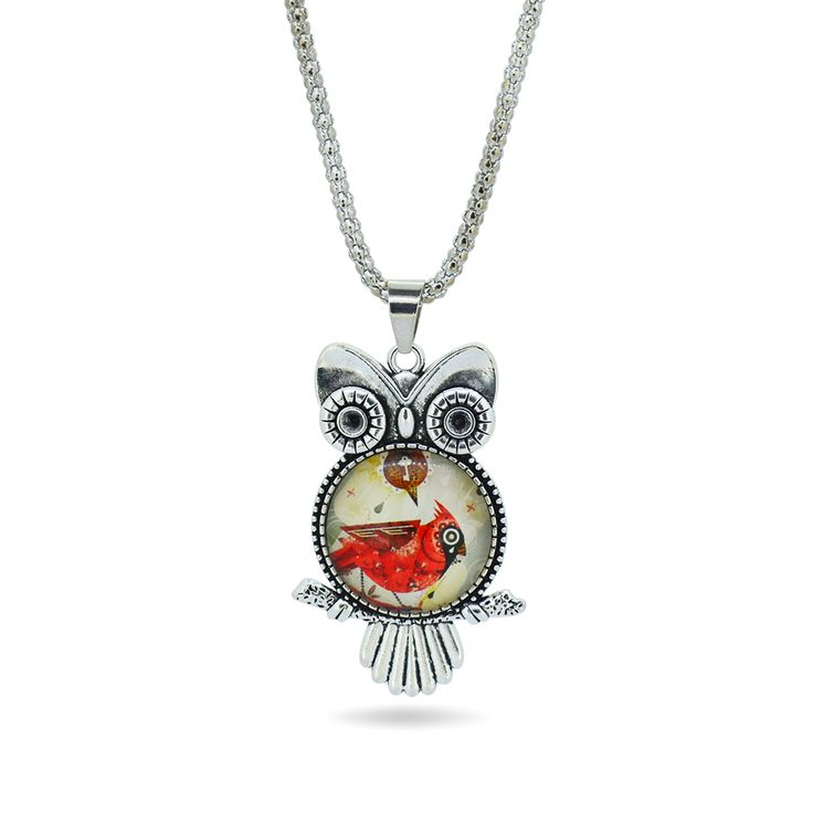 gemdivine.com fashion-owl-pendant-necklace-newest-glass-cabochon-necklace-in-jewelry-vintage-silver-color-statement-chain-necklace