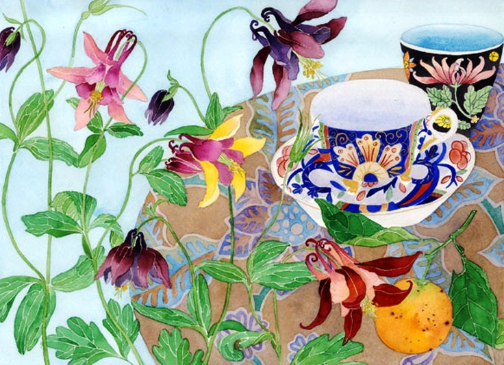 Granny bonnets and teacups by Gabby Malpas: watercolour, digital print on photographic paper A3 size. via Etsy.