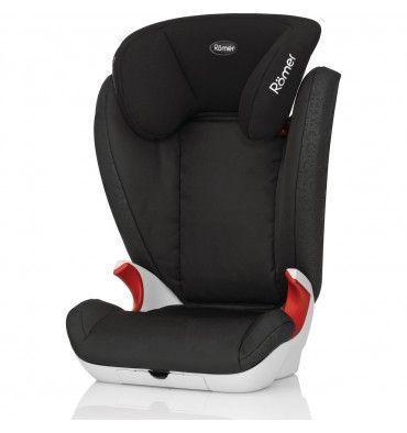 """RÖMER KID II (SIN ISOFIX) La silla de auto Römer Kid II es una silla de Grupo 2/3 con un cabezal ajustable en forma de """"V"""" que evita que la cabeza se caiga hacia adelante cuando se queda dormido. La silla está inspirada en el famoso modelo Kidfix, sólo que sin incluir los conectores isofix. Se instala exclusivamente mediante cinturón de seguridad."""