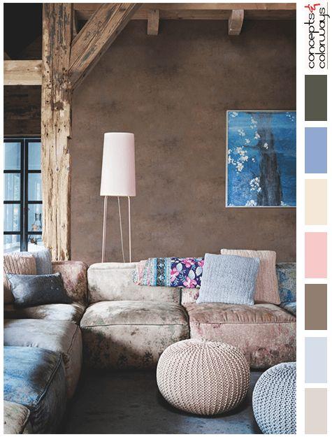 Pantone Rose Quartz And Serenity Interior Color Palette Dusty Blue Pouf Ottoman Pink