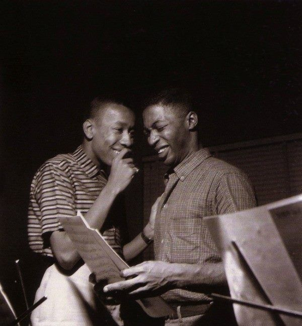 Lee Morgan and Curtis Fuller, 1957. Photo by Francis Wolff